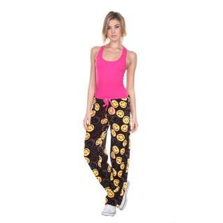 Stanzino Women's Black Smiley Print Plush Lounge Pants