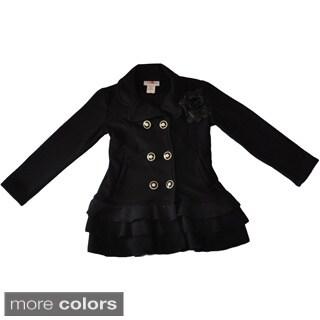 Girl's Ruffled Fleece Pea Coat