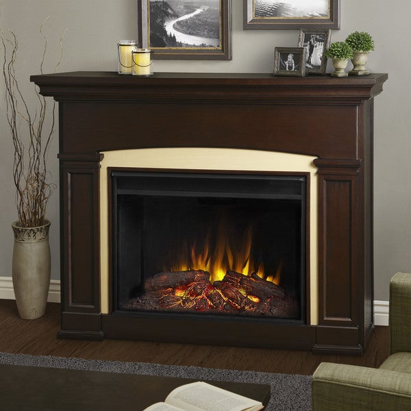 Holbrook Grand Electric Fireplace in DK Walnut by Real Flame