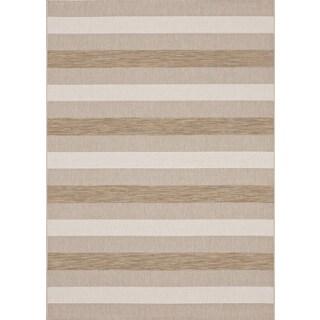 Loft Prime Striped Beige Rug (7'10 x 10')