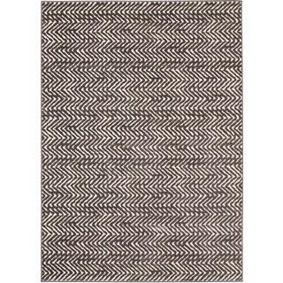 Loft Modern Chevron Stripe Grey and Cream Polypropylene Rug (5'3 x 7'4)