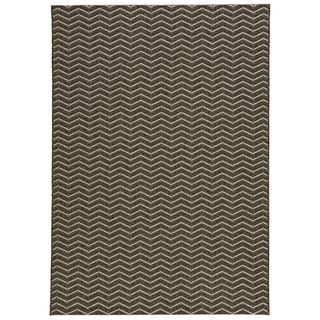 Loft Gracie Chevron Stripe Grey Indoor or Outdoor Rug (7'10 x 10')