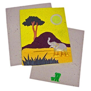Handmade Designer Yellow Elephant Poo Paper Card (Sri Lanka)