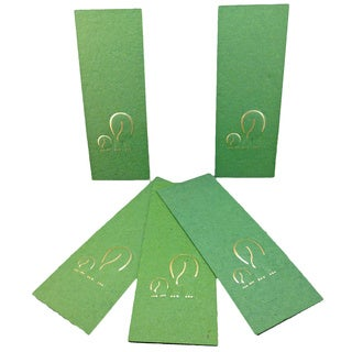 Elephant Dung Paper Green Bookmark (Set of 5) (Sri Lanka)