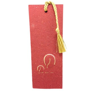 Elephant Dung Paper Maroon Bookmark with Tassel (Sri Lanka)