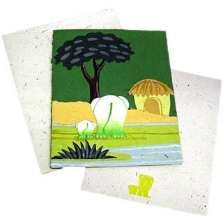 Handmade Designer Dark Green Elephant Poo Paper Card (Sri Lanka)