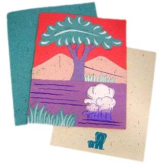 Handmade Designer Pink Elephant Family Poo Paper Card (Sri Lanka)