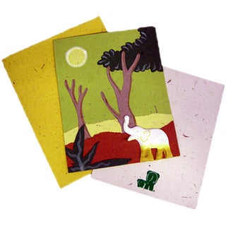 Handmade Designer Light Green Elephant Card (Sri Lanka)