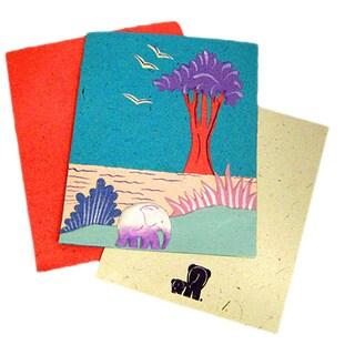 Handmade Designer Robin's Egg Blue Elephant Card (Sri Lanka)