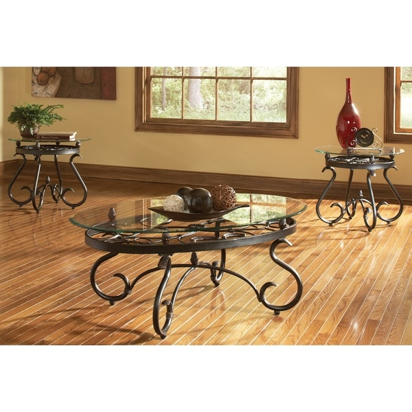 Coffee Table And 2 End Tables 3 Pc Set Metal Tempered Glass Antique