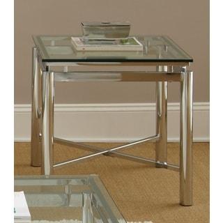 Greyson Living Natal Chrome and Glass End Table