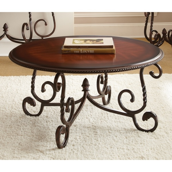 Canterbury round coffee table overstock shopping great for Coffee tables overstock
