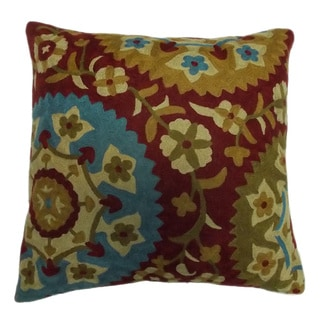Suzani Artistic Design Crewel Embroidered Decorative Pillow