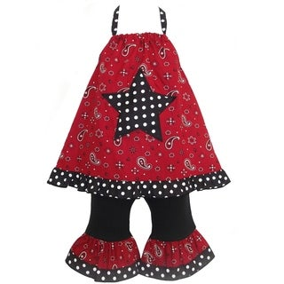 AnnLoren Boutique Girls Red Bandana Star Halter 2-piece Outfit