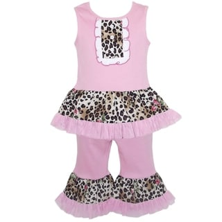 AnnLoren Boutique Girls Pink Leopard Rose Tank with Capris 2-piece Outfit