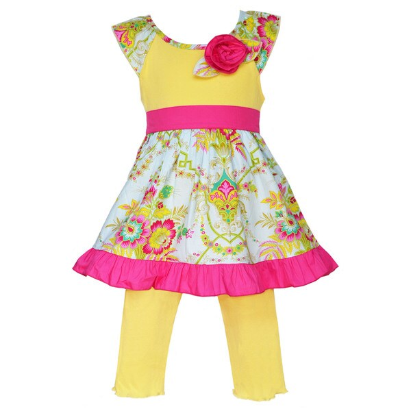 Ann Loren Boutique Girls Floral Bouquet Dress with Yellow Capri Leggings 2 piece outfit