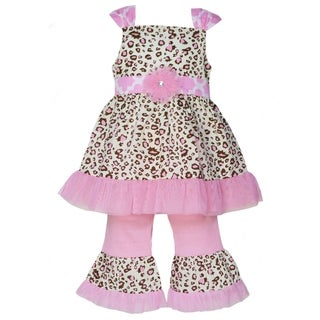 AnnLoren Boutique Girls Pink Leopard Tunic with Pink Capris 2-piece Outfit