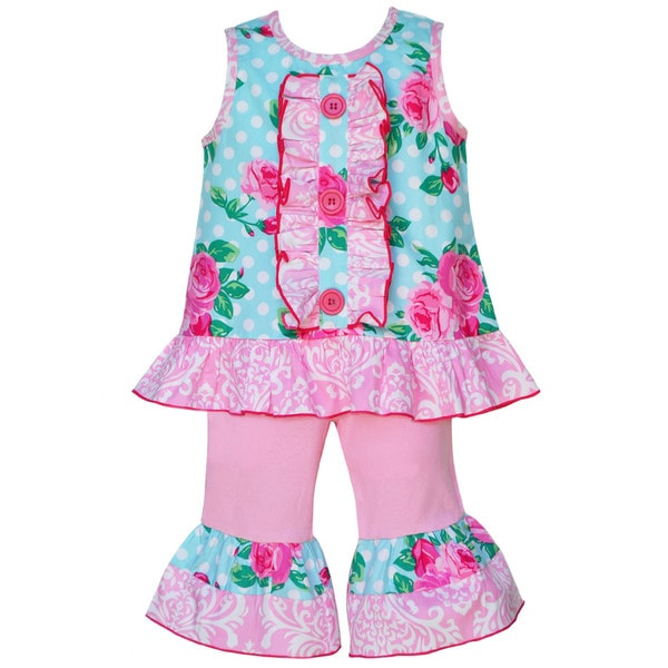 AnnLoren Boutique Girls Tiffany Rose Dot Tunic with Pink Capris 2 piece outfit