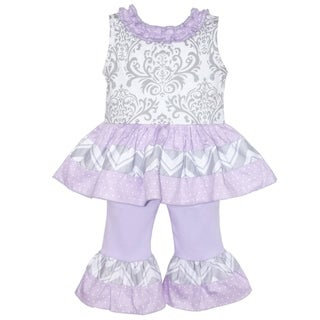 AnnLoren Boutique Girls Grey Damask Tunic with Purple Capris 2-piece Set