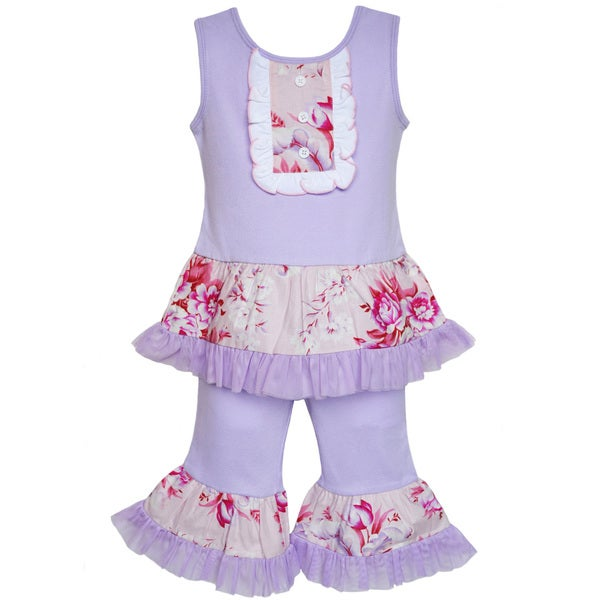 AnnLoren Boutique Girls Purple Floral Tux Style Tank 2-piece Set