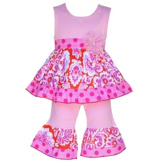 AnnLoren Boutique Girls Orange and Pink Damask Tunic with Capris 2-piece outfit