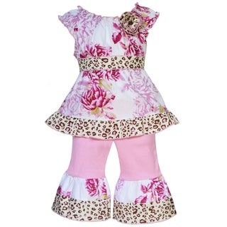 AnnLoren Boutique Girls Shabby Floral and Leopard Tunic with Capris 2-piece Set
