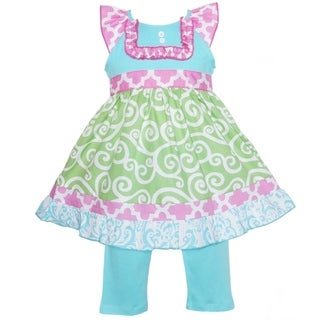 AnnLoren Boutique Girls Green Swirl and Pink Lattice Dress with Capris 2-piece Set