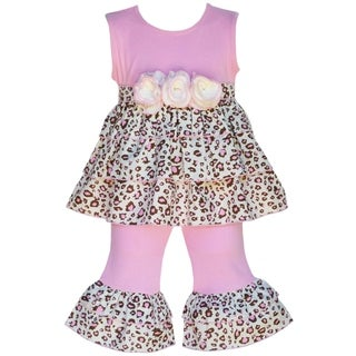 AnnLoren Boutique Girls 2-piece Pink Leopard Rumba Tunic with Capris Set