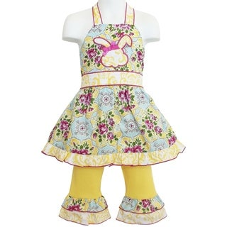AnnLoren Boutique Girls Floral Bunny Halter Easter Dress with Capris 2-piece Outfit
