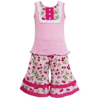 AnnLoren Boutique Girls Pink Tank with Cherry Gingham 2-piece Outfit