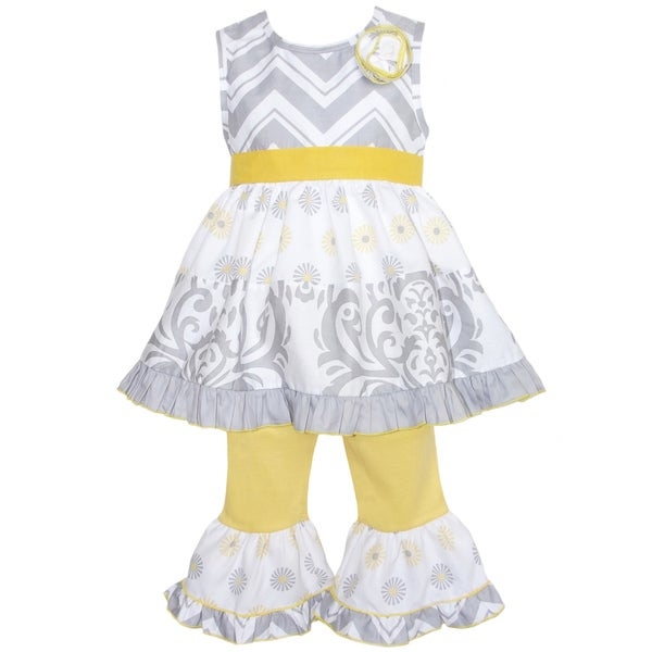 AnnLoren Boutique Girls Grey Chevron and Damask Dress and Yellow Capris 2-piece Outfit