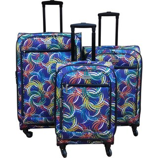 Chocolate New York Swirl Expandable Spinner Luggage Set