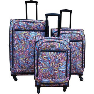 Chocolate New York Splash Expandable Spinner Luggage Set