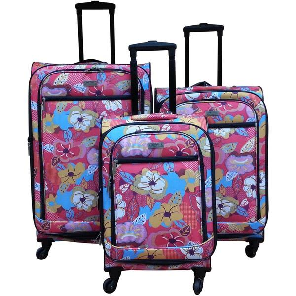 Chocolate New York Bright Flower 3-piece Spinner Luggage Set