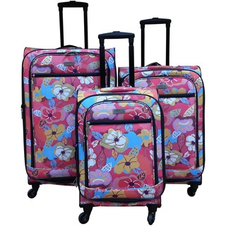 Chocolate New York Bright Flower 3-piece Spinner Luggage Set