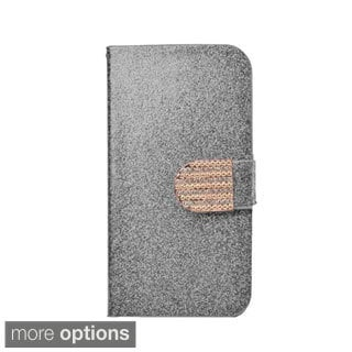 INSTEN Glittering Leather Folio Book-Style Flip Case Cover With Diamond For Kyocera Hydro Icon 6730/ Life 6530