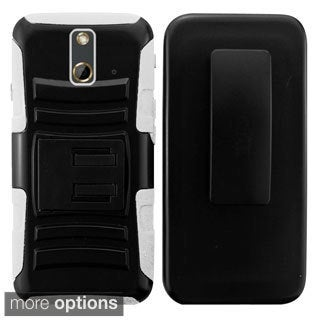INSTEN Advanced Armor Dual Layer Hybrid Stand PC Silicone Phone Case Cover With Holster For HTC One E8
