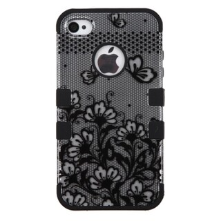 INSTEN Black Lace Flower Tuff Hybrid Rubberized Hard PC Silicone Phone Case Cover For Apple iPhone 4/ 4S
