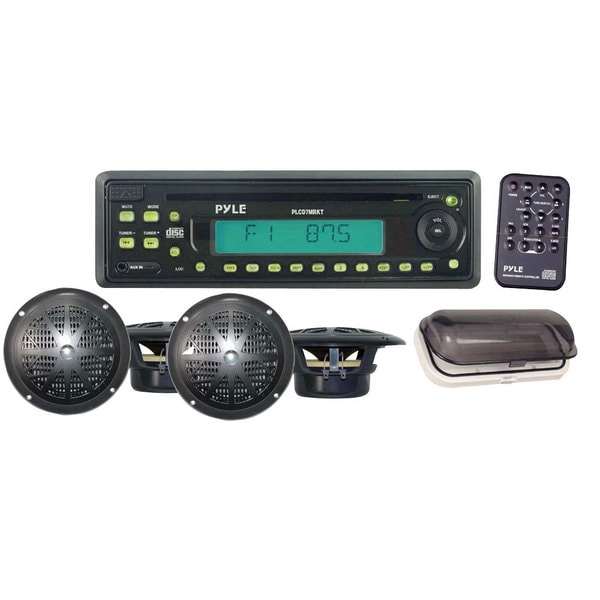 Pyle RBPLCD7MRKT Waterproof AM/FM/ AUX/ CD Player Receiver with 4 x 5.25-inch Speakers (Refurbished)