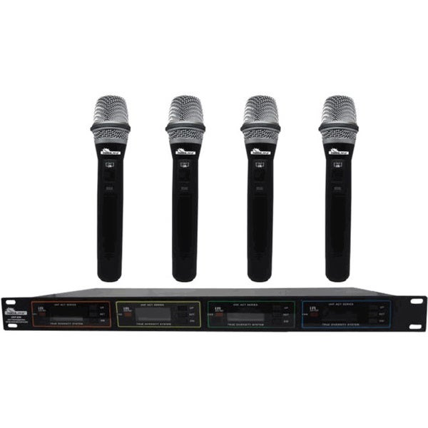 IDOLpro UHF-638 Professional 4-channel Dual Wireless Infrared Auto-Scanning Microphone System