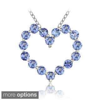 Glitzy Rocks Silver Tanzanite Heart Necklace