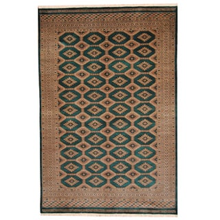 Herat Oriental Pakistani Hand-knotted Bokhara Green/ Beige Wool Rug (6' x 9')