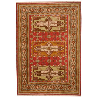 Herat Oriental Indo Hand-knoted Tribal Kazak Rust/ Red Wool Rug (5'6 x 7'10)