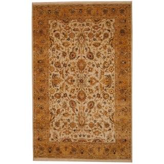 Herat Oriental Indo Hand-knotted Vegetable Dye Ivory/ Beige Wool Rug (5'9 x 9')
