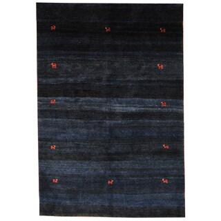 Herat Oriental Indo Hand-knotted Gabbeh Blue/ Navy Wool Rug (6'3 x 9'4)