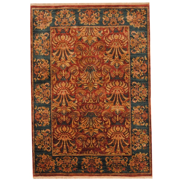 Herat Oriental Indo Hand-knotted Mahal Wool Rug (6' x 8'7) 14455713