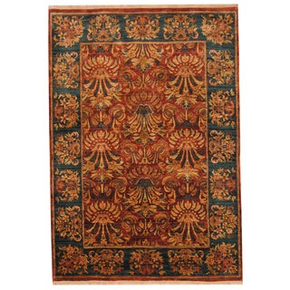 Herat Oriental Indo Hand-knotted Mahal Burgundy/ Green Wool Rug (6' x 8'7)