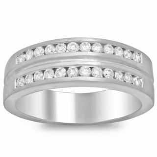 14k White Gold 4/5ct TDW Diamond Men's Ring (F-G, SI1-SI2)