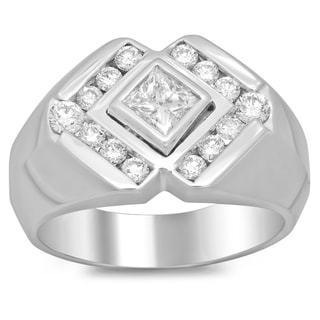 Men's 14k White Gold 1 1/5ct TDW Diamond Ring (F-G, SI1-SI2)