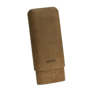 Adorini Brown Leather Travel Cigar Case 2-3 Finger